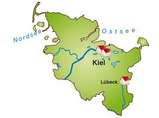 Schleswig-Holstein  Infokarte gruen in SVG