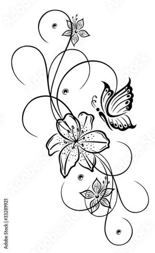 Lilien, Lilie, Ranke, Blumen, Blüten, flora, filigran