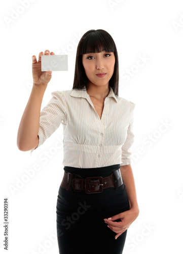 Beautiful business woman holding a credit club or business card