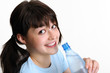 Young brunette with bottle of water