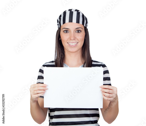 Beautiful prisoner with blank paper