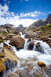 Waterfall in caucasus mountains