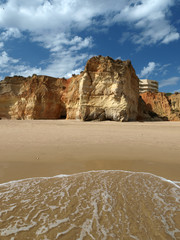 Colorful rock cliffs of the Algarve in Portugal