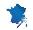 Nice : Localisation sur carte de France - département des Alpes-