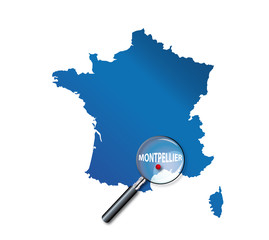 Montpellier : Carte de France - département de l'Hérault