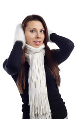 portrait of young woman feeling cold