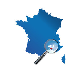 Arles : Carte de France - département des Bouches du Rhône