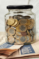coins in money jar