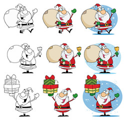 Santa Claus Cartoon Mascot Characters-Vector Collection