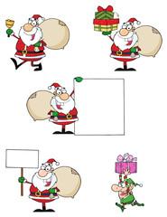 Santa Claus Cartoon Characters-Vector Collection