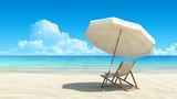 Fototapety Beach chair and umbrella on idyllic tropical sand beach