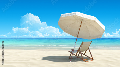 Beach chair and umbrella on idyllic tropical sand beach - 33298508