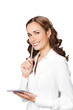 Happy smiling business woman with notepad writing, isolated
