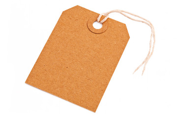 brown blank tag isolated on the white