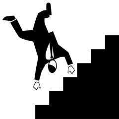 Symbolised business simple-falling down stairs