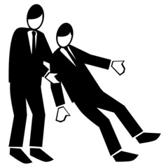 Symbolised business simple-men falling back