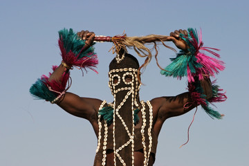 Dogon dancer greeting
