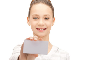 teenage girl with business card