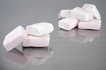 Pink-white Marshmallows on a silver tray