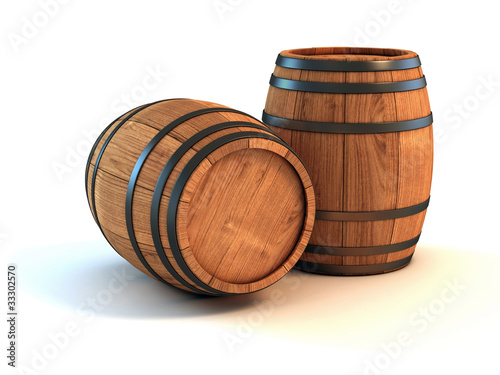two wine barrels isolated on the white background - 33302570