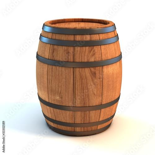 wine barrel over white background 3d illustration