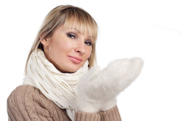 young woman in sweater wollen mitten sweater