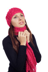 pretty young woman in scarf and cap