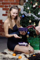 beautiful girl open box with present