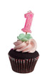 Mini cupcake with birthday candle for one year old isolated
