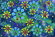 Abstract 3D Flower Storm Blue