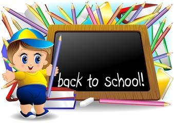Scuola Bambino e Lavagna-School Child and Blackboard-Vector