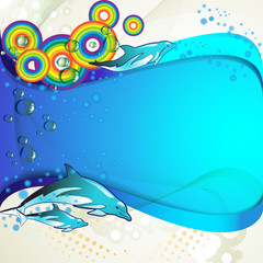 Colored circles with dolphins and drops of water