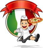 Young pizza Italian flag