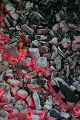Closeup of burning charcoal with selective focus