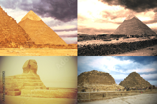 Card: sphinx, pyramids of pharaohs and his wifes. Giza, Egypt