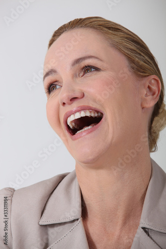 businesswoman laughing