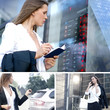 Collage of images with a young Caucasian businesswoman