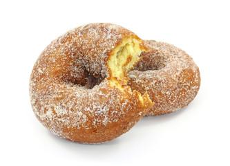 Bitten sugared cake doughnuts