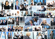 A collage of business images with young and smart people
