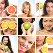 A collage of images with young women and fresh fruits