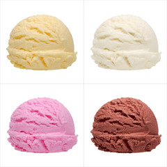 Four ice cream scoops of different flavors