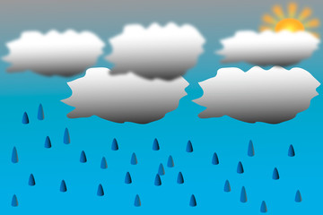 Background with clouds and rain drops.  Vector illustration.
