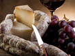 cheese salami grapes and redwine