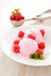 Raspberry fruit ice cream