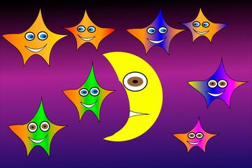 Moon and stars,  vector illustration .