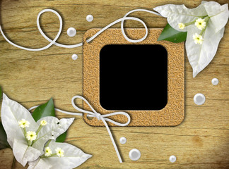 Vintage photo frames and tropical flower