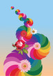 abstract rainbow design with flowers