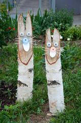 Landscape Design - rabbits made ??of birch logs