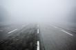 Leinwanddruck Bild - road in the fog