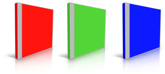 Red, green and blue blank cd case